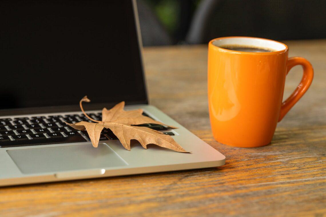 fall leaf on laptop